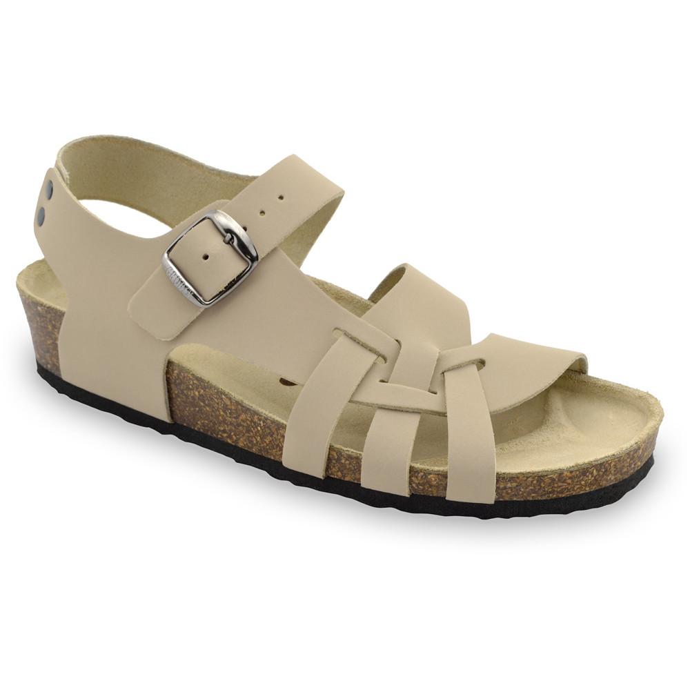 PISA damskie skórzane sandały (36-42) - beżowy, 38