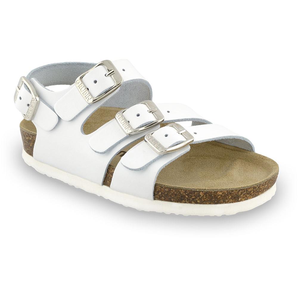 Camber skórzane sandały dziecięce (30-35) - biały, 31