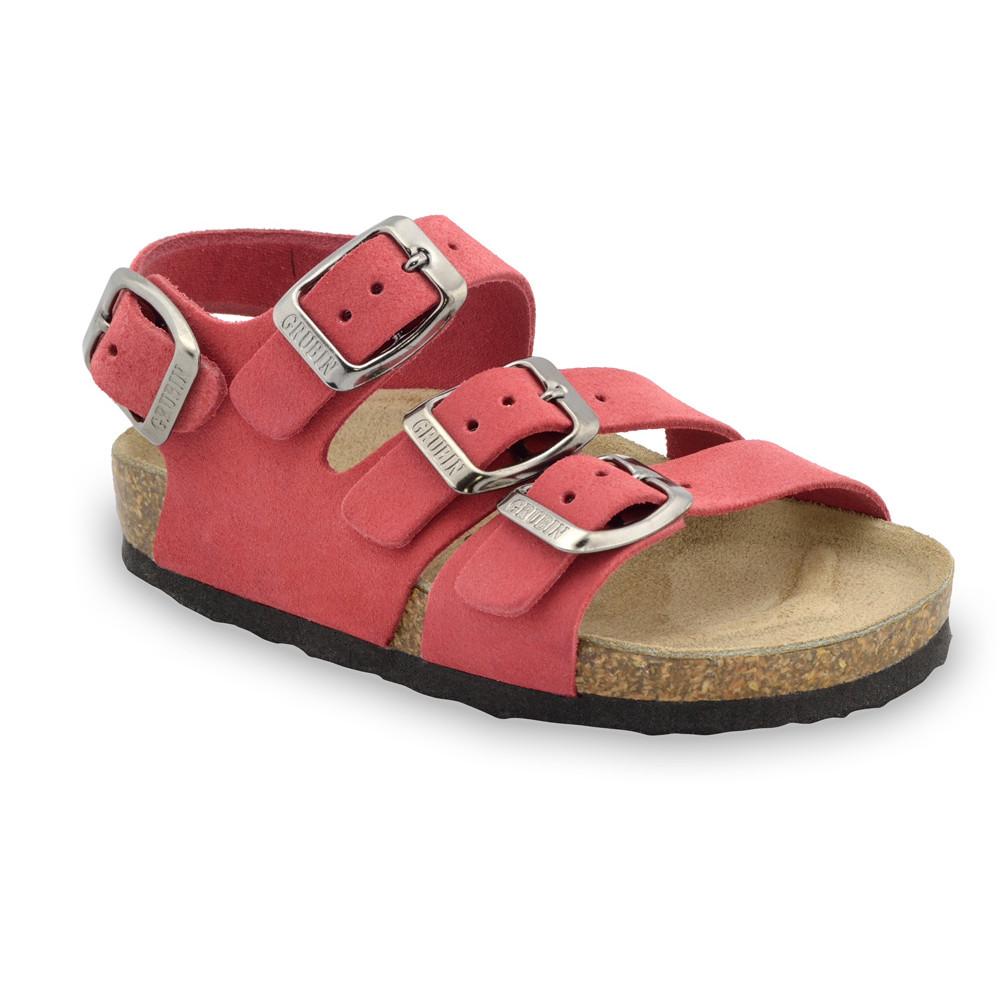 Camber skórzane sandały dziecięce (30-35) - czerwony, 32