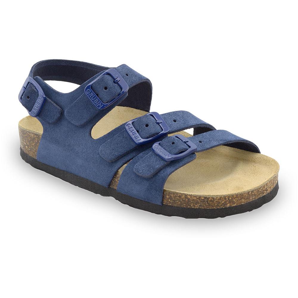 Camber skórzane sandały dziecięce (30-35) - niebieski, 34