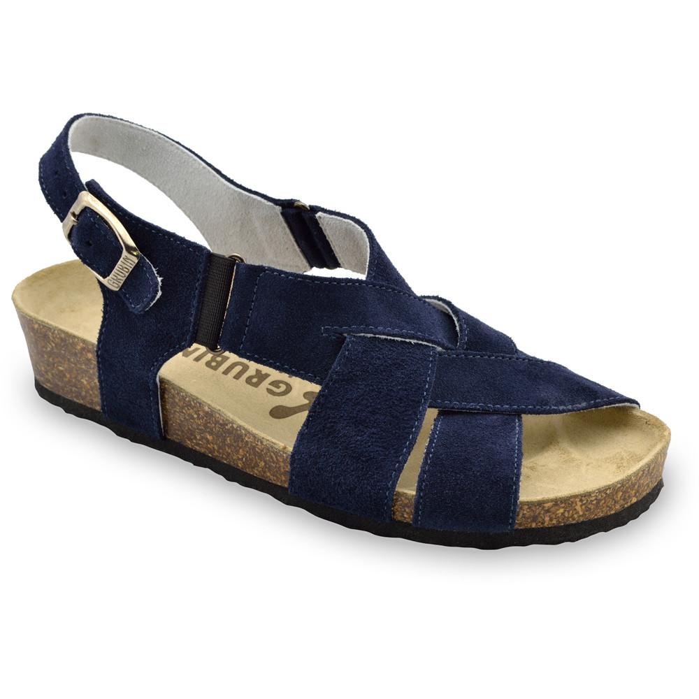 MONA damskie skórzane sandały (36-42) - niebieski mat, 38