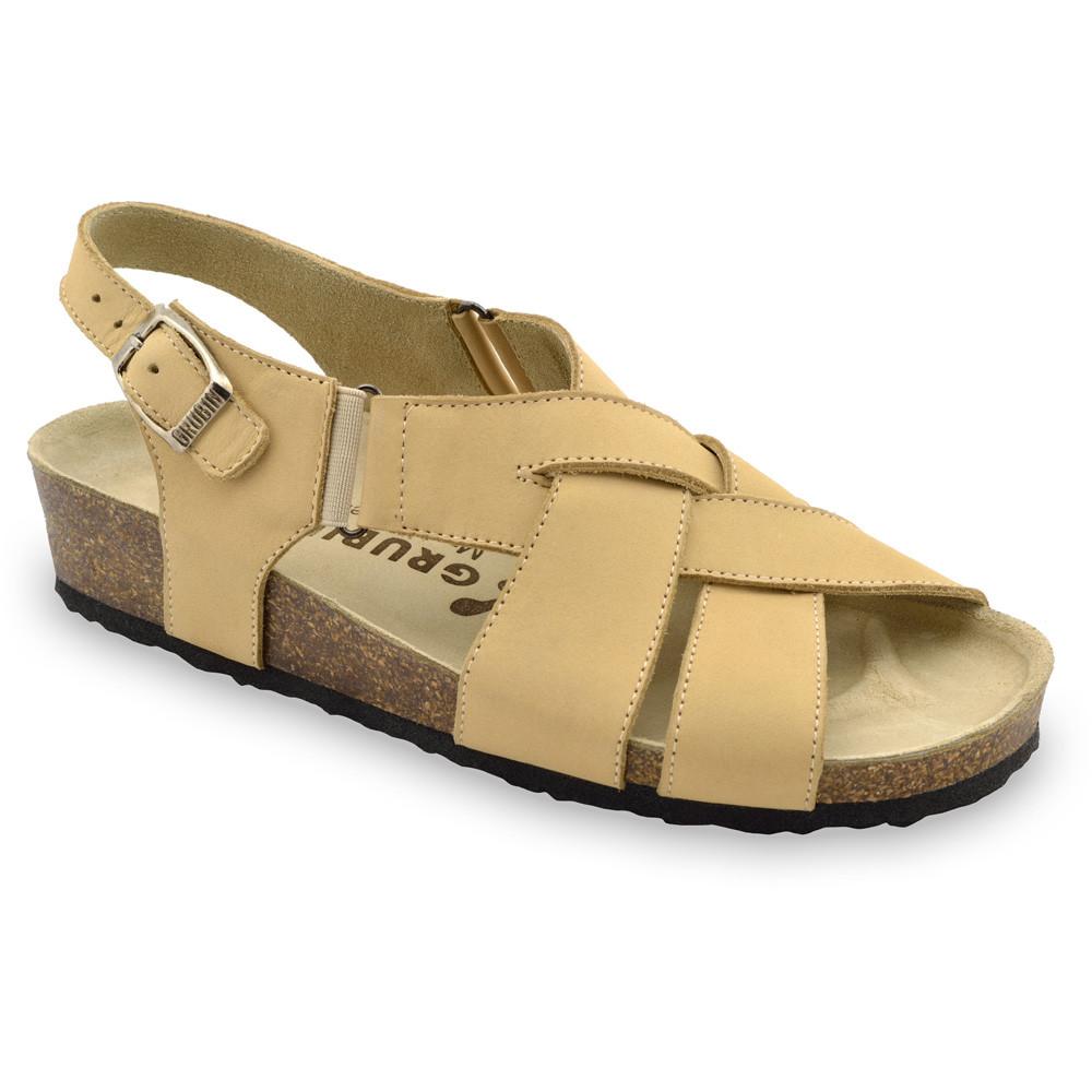MONA damskie skórzane sandały (36-42) - kremowy, 36
