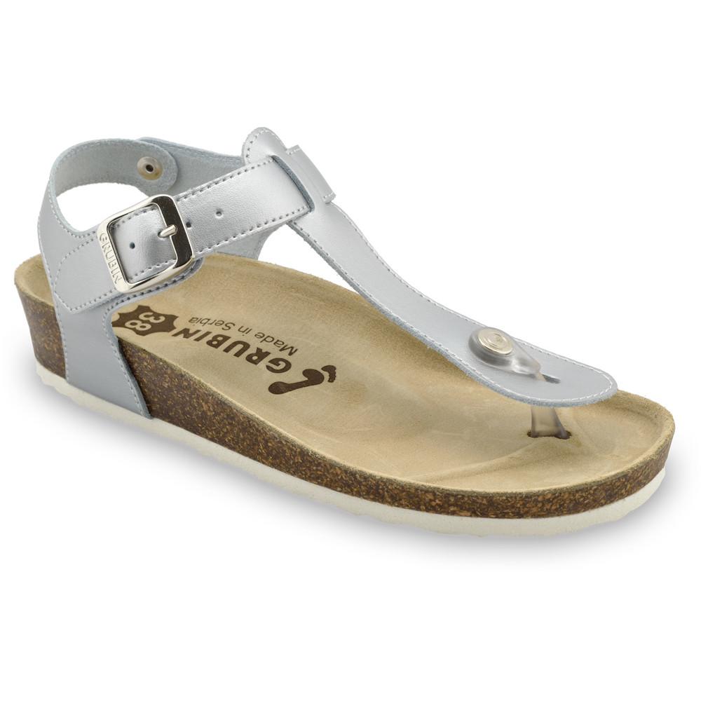 TOBAGO sandały z podparciem kciuka dla kobiet - skóra nubuk (36-42) - srebrny, 40