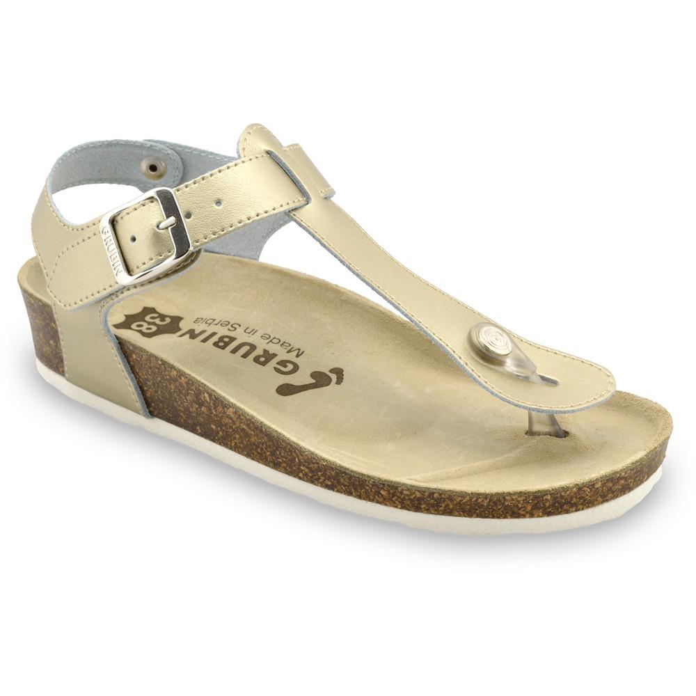 TOBAGO sandały z podparciem kciuka dla kobiet - skóra nubuk (36-42) - złoty, 42
