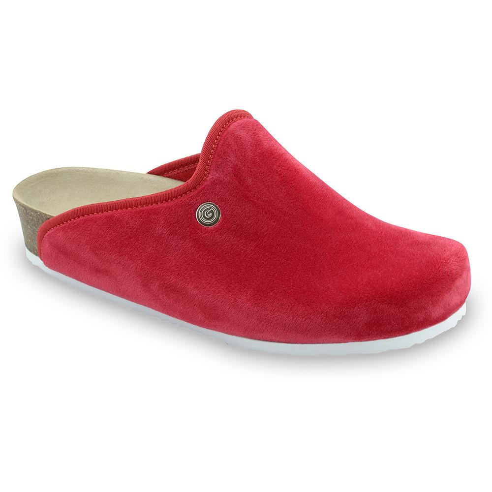 CAKI domowe zimowe buty damskie - plusz (36-42) - czerwony, 42
