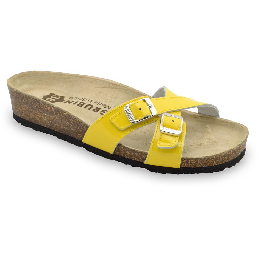 MODENA damskie skórzane kapcie (36-42) - żółty, 36