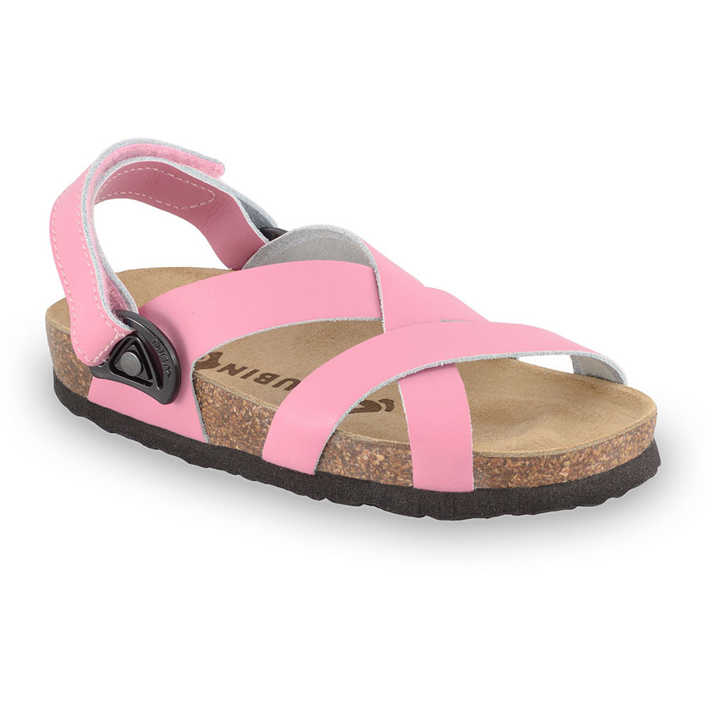 PITAGORA sandały dla dzieci - skóra nubukowa (30-35) - różowy, 33