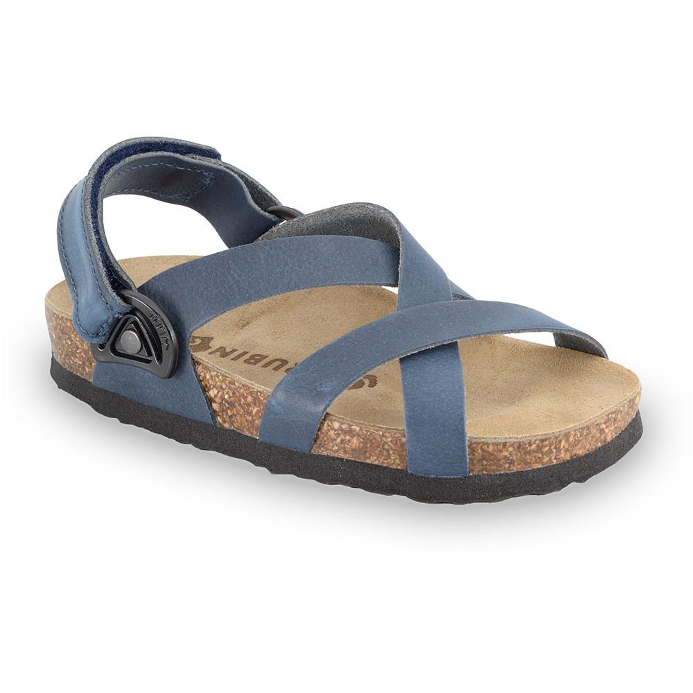 PITAGORA sandały dla dzieci - skóra nubukowa (30-35) - niebieski, 32