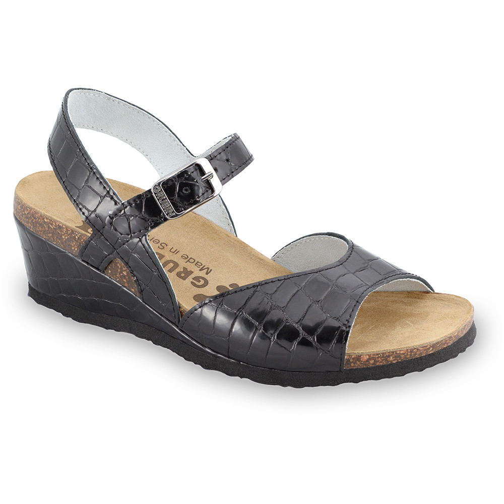 HALDEJA sandały dla kobiet - skóra (36-42) - czarna żmija, 36