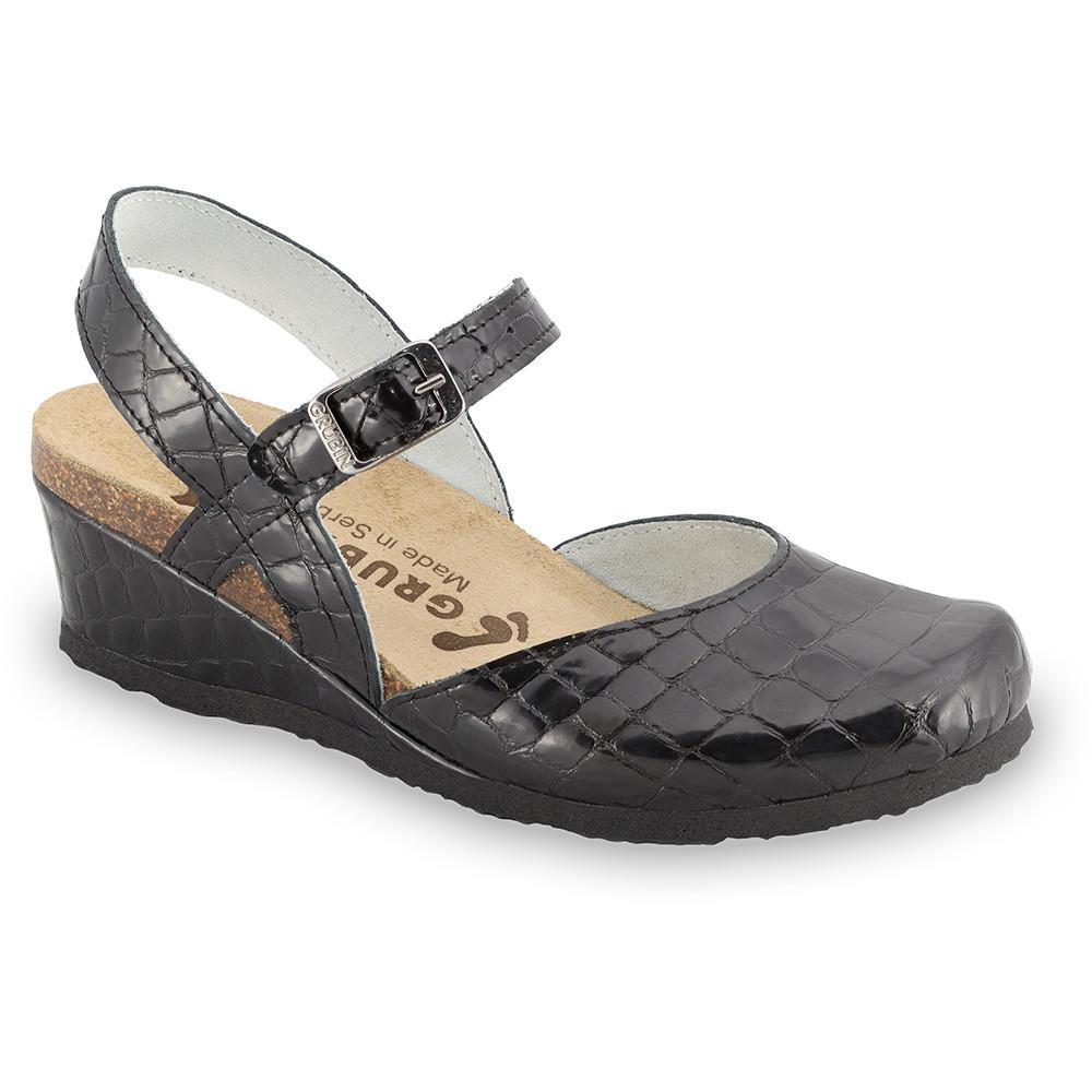 FELIKS sandały dla kobiet - skóra (36-42) - czarny z wzorem, 37