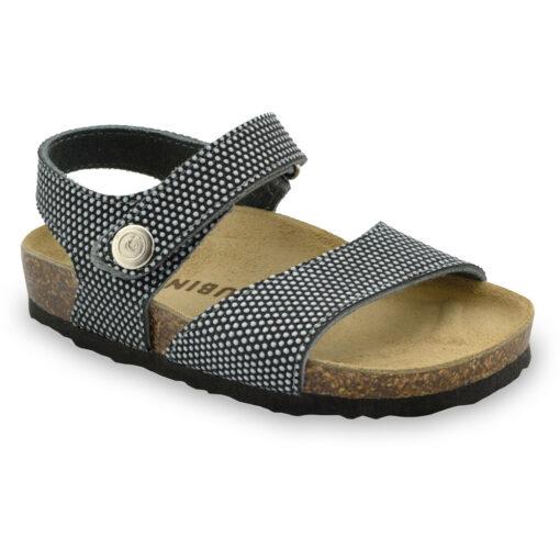 LEONARDO sandały dla dzieci - skóra nubuk (23-29)