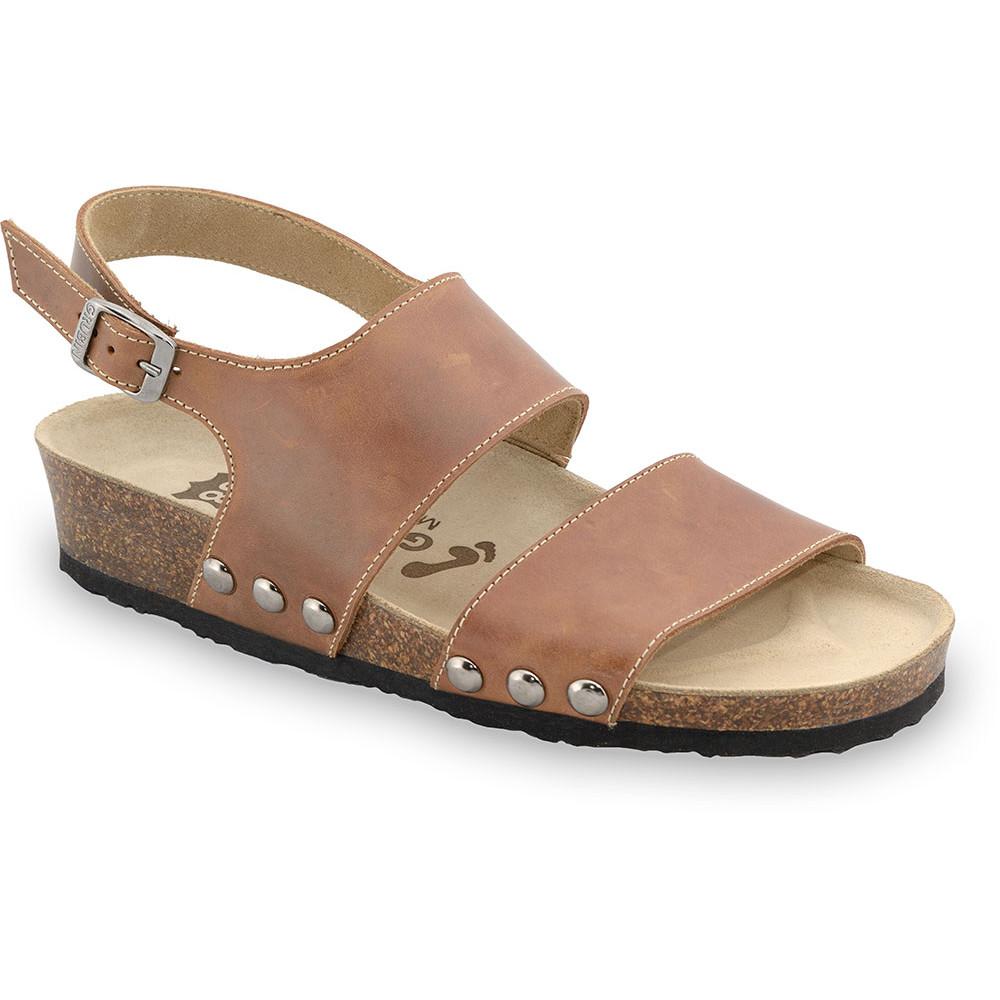 CHARLOTTE sandały dla kobiet - skóra (36-42) - jasnobrązowy, 42